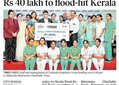 Yashoda Hospitals contributes 40 lakhs to Kerala Flood Relief
