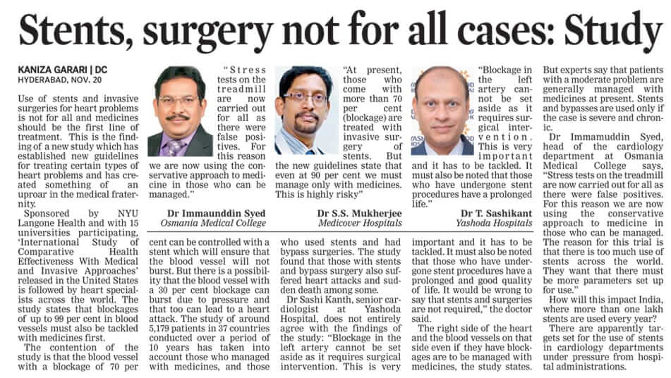 stents surgery not for all cases Dr T Sashikanth Cardiologist
