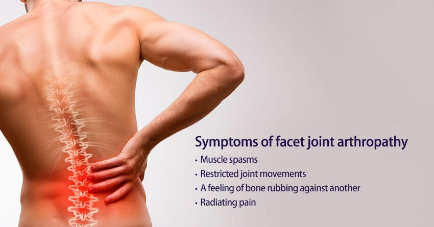 What are the symptoms of facet joint arthropathy